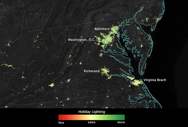 Holiday lights from a onehorse open  space satellite