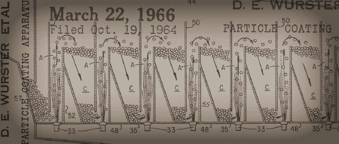 detail from patent drawing of Particle Coating Apparatus. Courtesy WARF