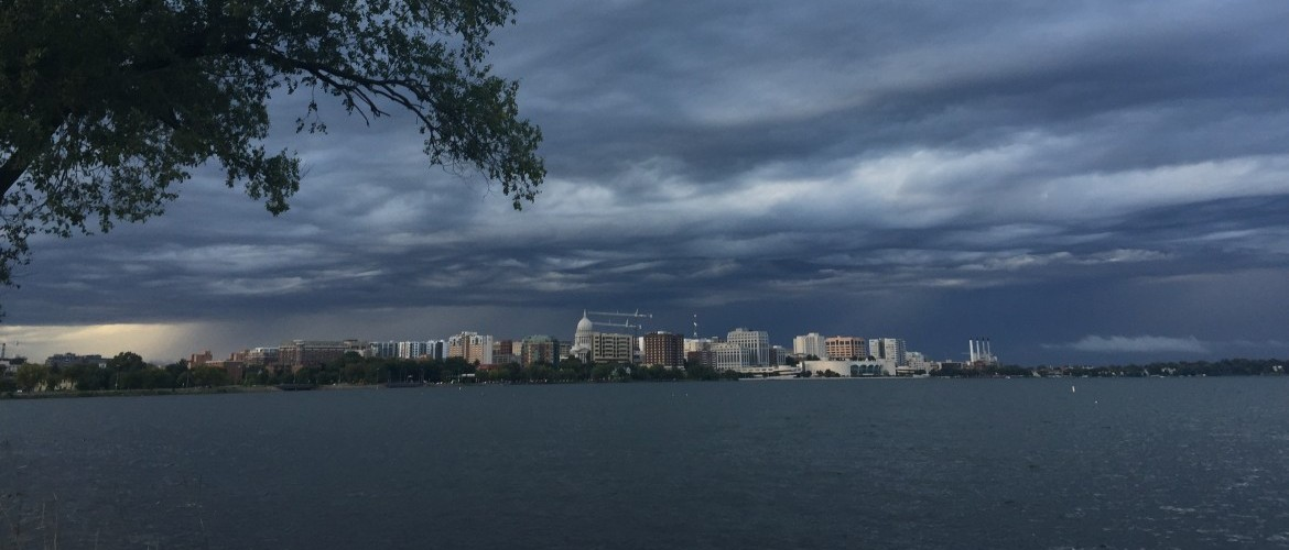 A storm sits over Madison, Wisconsin in 2016