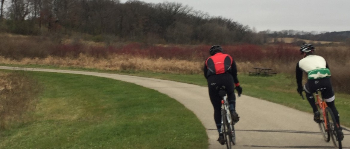 Two cyclists on Madison's Capital City Loop, November 2016