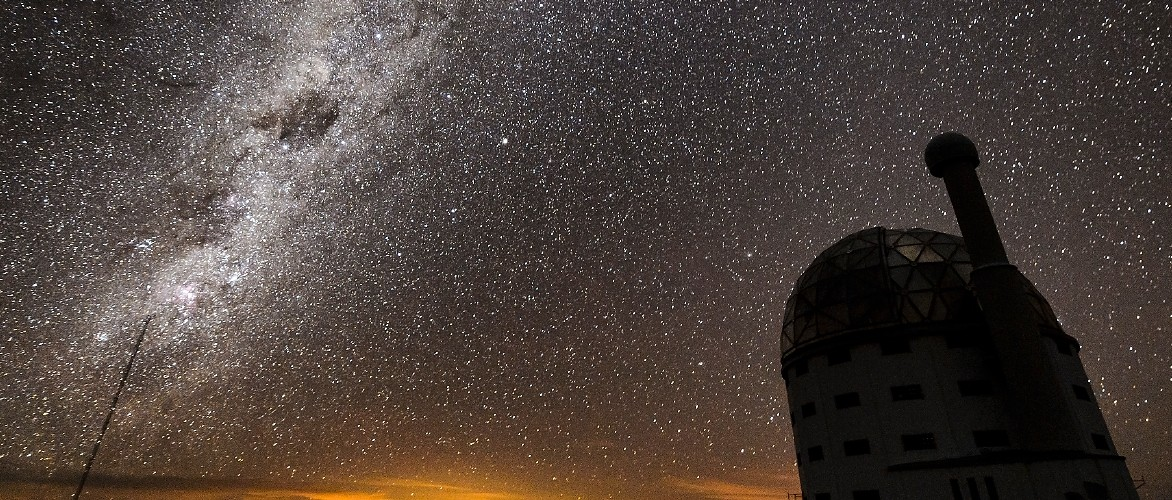 The Milky Way over the Southern African Large Telescope in the Southern Hemisphere, as seen on July 18, 2017. Photo by Jeff Miller, UW-Madison