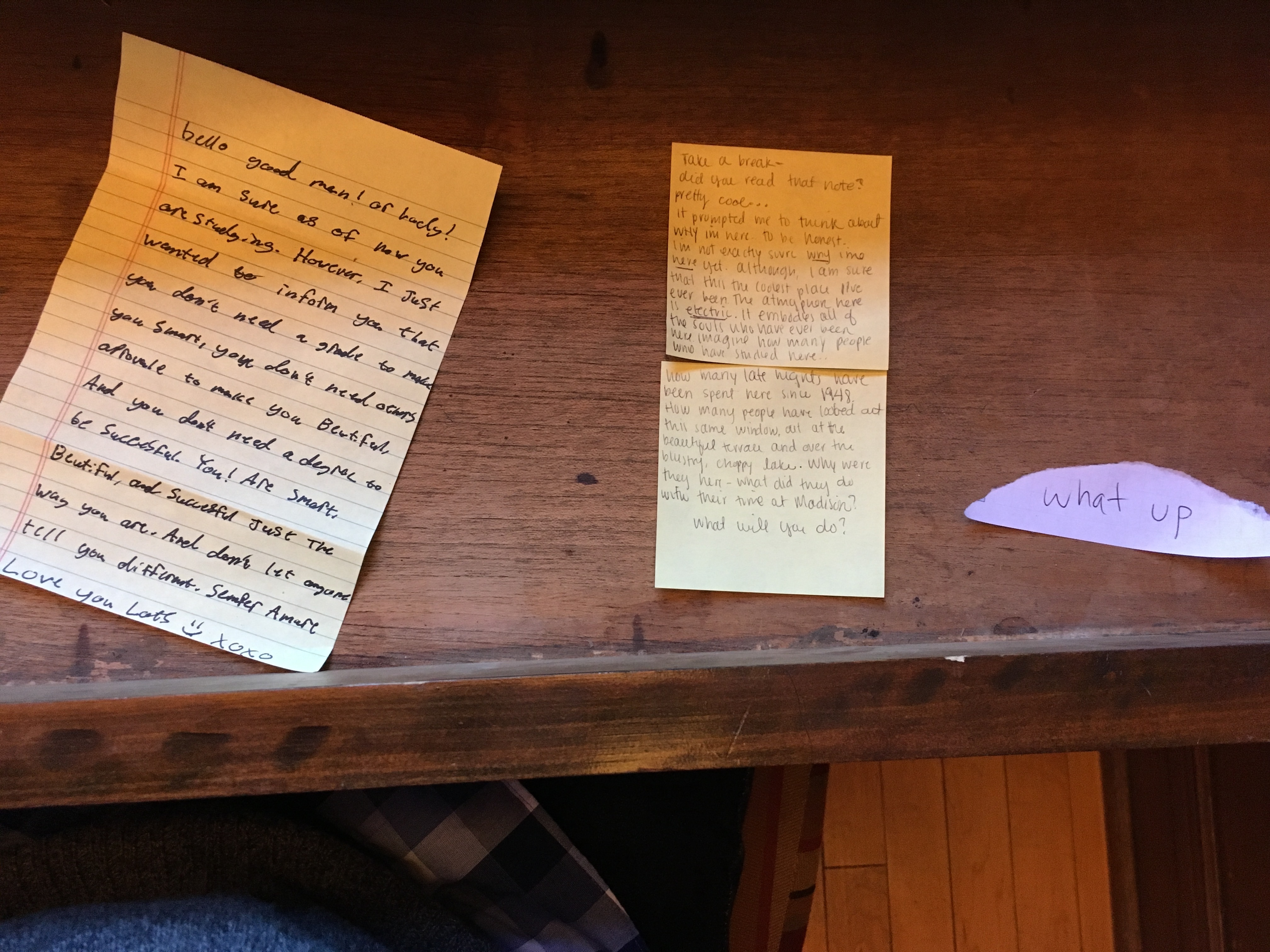 The front table harbors notes from contemplative students. (Photo by Eric Hamilton)