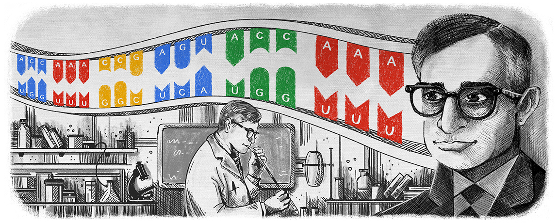 Biochemist Har Khorana was honored on what would have been his 96th birthday with Google's daily doodle. Khorana won the 1968 Nobel Prize for his work at UW–Madison deciphering the universal genetic code.