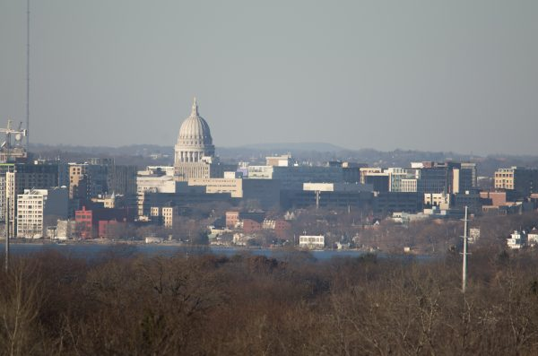 Blue Mound appears in the distance behind the Capitol