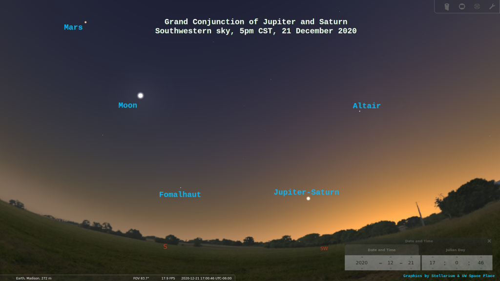 A simulated night sky on December 21st showing Jupiter and Saturn converging
